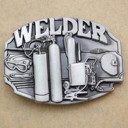 Wholesale tools welders - Vintage Silver Welder Machinists Working Machinery Tools Trades Union Belt Buckle Exchange Men Jewelry 2018