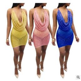 2019 vestidos largos del vendaje de cristal 2018 primavera nuevas lentejuelas europeas y americanas ahuecadas, sling sexy, vestido de gran tamaño, cadera y vestido de noche.