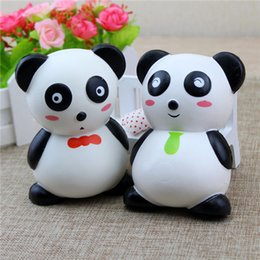Wholesale cute chinese toys - Chinese Panda Cartoon Squishy Cute 12cm Jumbo Slow Rising Phone Straps Cartoon Pendant Cream Scented Bread Kids Fun Toy Gift Free Shipping