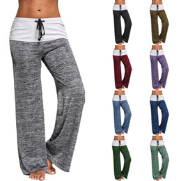 Wholesale Wholesale Fitness Clothing Women - Women Wide Leg Pants Colorant Match Casual Yoga Pants Fitness Women Clothes Female Sports Running Maternity Pants