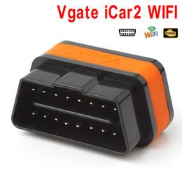 Wholesale Elm327 Obdii Wifi - Vgate ELM327 iCar2 Wifi OBD2 OBDII Professional Solution Scanner Diagnostic Adapter Scan Tools CDT_005