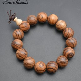 Wholesale Wood Beads 15mm - Natural Vietnam Wood 15mm Round Beads Mala Prayer Elastic Line Prayer Man's Bracelets Fashion Buddhist Jewelry