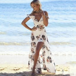Wholesale womens strapless long dresses - 2018 New Womens Dresses Holiday Sleeveless Ladies Maxi Long Summer Floral Printed Beach Dresses for Women