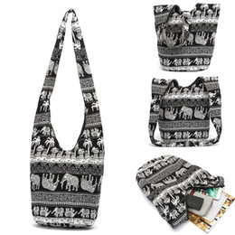 Gran estampado floral de tela online-Nuevo diseño Bolso de mujer Mochila Bolsa de mensajero de tela de algodón Bolsa Feminina Bolsos de hombro con estampado de elefante Bolso cruzado de gran capacidad