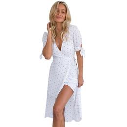 Fashion Women V Neck Short Sleeve Boho Long Maxi Pokla Dot Evening Party Dress  Ladies Deep V Wave Print Asymmetrical Dresses 4d6adc434db9