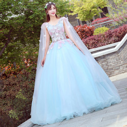 Free ship light blue butterfly embroidery ball gown medieval dress princess Medieval  Renaissance Gown queen cosplay Victoria dress. 407137204aaa