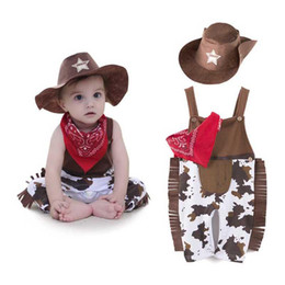 Wholesale Baby Clothes Model - 2017 Summer Baby Toddler Clothes Classic Cowboy Modelling Suspender Trousers + Cap + Scarf 3pcs Boys Set Baby Romper Suits Outfits K018