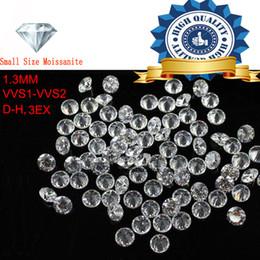 piccole pietre sciolte Sconti 1ctw / Lot Small Size 1.3mm Colore bianco Moissanite forma rotonda Moissanites sciolto pietra per la produzione di gioielli