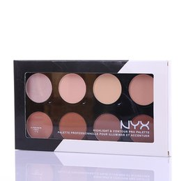 Wholesale Pro Face Makeup - NYX Highlight & Contour Pro Pattle Review Face Pressed Powder Foundation Grooming Shadow Powder Palette Makeup Cosmetic 8 Colors High Qualit