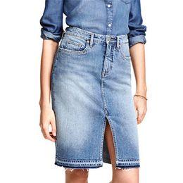 d04781e0b21 LOGAMI High Waist Midi Pencil Denim Skirt Ladies Knee Length Wrap Skirts  Womens Jean Split Skirt