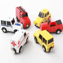 Wholesale Toy Motorcycle Wholesale - Smooth Flawless Wooden Small Car models Jeep Ambulance Fire truck Taxi Police car  Convertible car Children Kid Connectable Magnetic Trolley