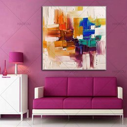 Wholesale Orange Canvas Art - HASYOU Mix color Abstract painting Orange white and blue painting handpainted canvas art for room wall decor