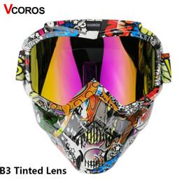 2019 motocicleta, rosto, rosto, máscara VCOROS máscara modular para óculos de proteção do capacete da motocicleta do vintage destacável com máscara à prova de vento rosto aberto meia capacete da motocicleta desconto motocicleta, rosto, rosto, máscara
