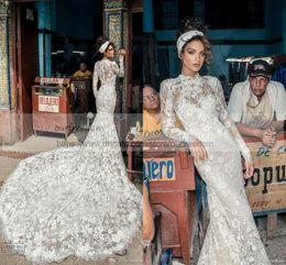 Wholesale Julie Vino - 2018 Julie Vino Mermaid Wedding Dresses with Long Sleeves High Neck Full Lace Floral Bridal Gowns Arabic Dubai Vestidos De Noiva