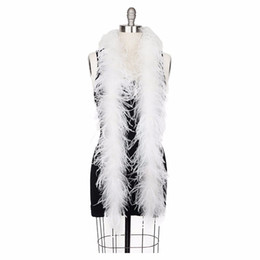 Wholesale white feather boas - Asia Ra 2meters  Lot White Ostrich Feather Boa Party Decorations Scarf Turkey Feather Boa Marabou Boa
