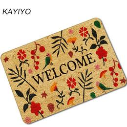 Alfombras de color beige online-KAYIYO retro de la flor tapetes antideslizantes de goma alfombra del piso Mat Alfombras para exteriores Bienvenido Puerta principal Inicio puerta de entrada alfombra de su casa Deco