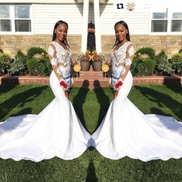 Wholesale Stretch Sequin Evening Dress - White Appliques Mermaid Long Sleeves Prom Dresses 2K18 Black Girl Sexy V Neck Sheer Stretch Satin Long Party Gowns Evening Dresses
