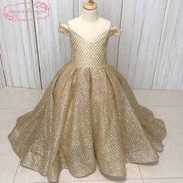 Immagine reale Little Flower Girls Dresses Paillettes dorate Gliter Glued Ball Gown Piano Lunghezza Little Girls Party Abiti Abiti da