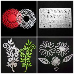 Wholesale Metal Die Cutting - Metal Scrapbook DIY Mold Branch Round Flower Number Letter Shape Embossed Cut Dies Anti Wear Template Silver 6 8ws4 B