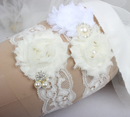 Jarretières de mariage pour la mariée mariée Ivory Jarretelles Jambières Set de dentelle strass cristaux plus la taille en mousseline de soie Fleurs à la main En stock ? partir de fabricateur