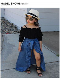 girls long cotton skirts Promo Codes - New Baby Girls Three Pieces Suits Sling top + denim skirt + PP shorts Kids Outfits Clothing Set Halloween girls boutique fall clothing