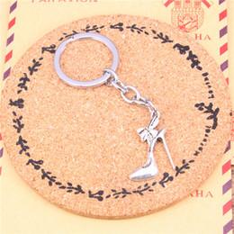 Wholesale Diy Metal Car - Keychain high-heeled shoes Pendants DIY Men Jewelry Car Key Chain Ring Holder Souvenir For Gift