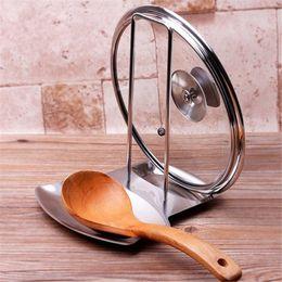 Porta cuchara cuchara online-Cubierta de olla de acero inoxidable, tapa de la tapa Soporte de la cuchara Soporte de la cuchara Estufa, organizador, sopa de almacenamiento, cuchara, restos, estante, olla, estante, cocina, accesorios
