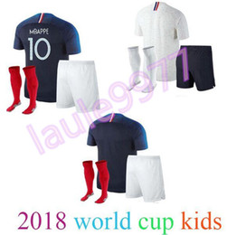 Wholesale kid boy wearing shirt short - 2018 2019 World Cup kids kit + socks soccer Jersey 18 19 PAYET POGBA GRIEZMANN KANTE MATUIDI Mbappé COMAN Jerseys Football shirt wear
