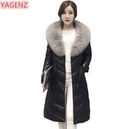 Wholesale Womens Jacket Size Large - YAGENZ New Winter Women Leather Cotton Clothing Jacket Large Size Womens Clothing Long Section Fur Collar Keep Warm Fur Coat 502