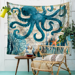 Wholesale Animal Bedspreads - 10Colors Sea animal world pattern tapestry lRectangular wall haning blanket Tapestry Bedspread Shawl Ethnic Art Home Decor tablecloth cover