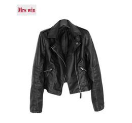 Wholesale Rivet Motorcycle Clothing - 2018 spring new Leather clothing women casual coat fashion jacket lapel PU water washing leather motorcycle women short jacket c