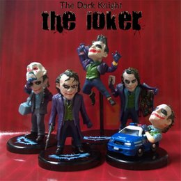 Wholesale joker action figure toys - The Dark Knight Joker 5pcs set PVC Action Figure The Avengers Collectible Model Toy 3.5~5.8cm