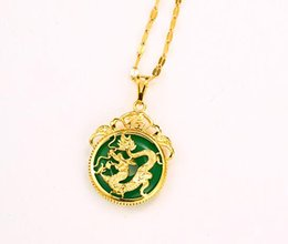 Wholesale Dragon Inlay - New Arrival Top quality Gold-Plated Dragon pendant necklace for women inlaid with Jade