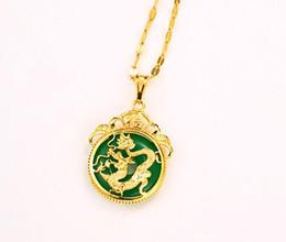 Colar de pingente de ouro dragão jade on-line-Chegada nova Top qualidade banhado a ouro colar de pingente de dragão para as mulheres incrustada com jade