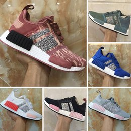 Wholesale Womens Sequin Shoes - 2018 Boost R1 Runner Sequins Womens Knitting Casual Shoes R1 PK Boost Sequins Knitting Casual Sneakers