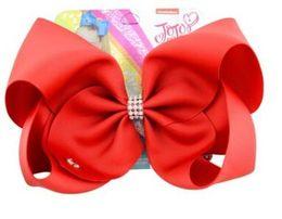 Pasador de bebé de diamantes de imitación online-Jojo Siwa bowknots sólidos broches para el cabello Jojo Bows con clip para bebés clip art hair rhinestone bow clips para el cabello con la tarjeta jojo