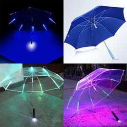 Regenschirm regen freies verschiffen online-Allwetterregenschirme Lumineszenz Babysbreath Licht Led Regen Flash Sicherheit Nachtschutz Manuelle Polyestergewebe Freies Verschiffen 38jn V