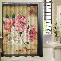 Cortinas blancas flores rosas online-El sello clásico con flores rosas y blancas diseño vintage cortinas de baño cortina de baño para la decoración del baño de alta calidad
