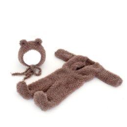 Baby overall häkeln online-Neugeborene junge Bär Outfit Strampler häkeln Baby Boy Fotografie Footed Romper Fuzzy Neugeborenen Hut Hosen Baby Overalls Overall Requisiten