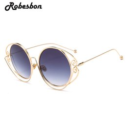 Wholesale felt frames - Luxury Brand Round Frame Sunglasses Women High Quality Classic Sun Glasses for Ladies Party Shiny Feeling Retro Gafas Oculos