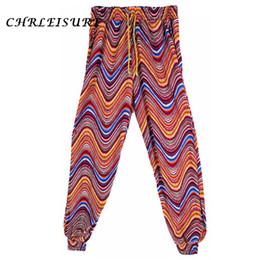 Wholesale Wholesale Chiffon Bloomers - CHRLEISURE 10 Colors Summer Beach Boho Print Harem Pants Women Fashion Loose Lace Up Pant Bloomers Polyester Women Pants