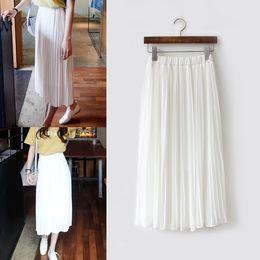 2cf7b81291 TingYiLi Chiffon Falda plisada Falda larga de mujer Negro Gris Rosa Blanco  Maxi Summer falda plisada de color beige beige baratos