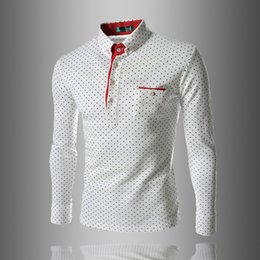 Camisas de pólo homens de bolso on-line-Mens Polo Shirt Marcas Masculinas de Manga Longa Moda Casual Magro Polka Dot Bolso Botão Polos Homens Jerseys