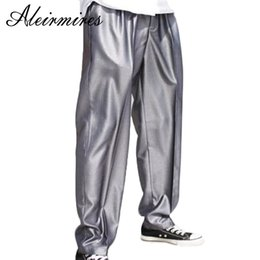 Wholesale dancer hip hop - Aleirmires Men Silver Street Dance Poppin Pants Embroidery Letters Streetwear Front Pleated Dancer Trousers Funky Hip Hop Pants
