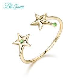 2019 кольцо из желтого золота 14к 14 K желтое золото натуральный цитрин мода кольца зеленый камень двойной звезды модные кольца ювелирные изделия для женщин подарок 0015-1 дешево кольцо из желтого золота 14к