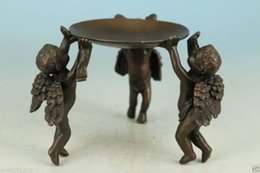 Wholesale Asian Statues - Ancient Asian Chinese Old Bronze Handmade Carved Angel Collect Statue Oil Lamp