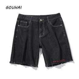 Wholesale Destroyed Jeans Shorts - Destroyed Ripped Design Men Short Jeans Men 2018 Summer Fashion Brand Causal Solid Black Denim Shorts Plus Size M-5XL