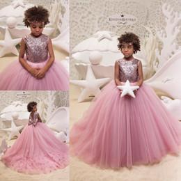 оптовая маленькая девочка красные платья Скидка 2019 Vestidos Pink Tulle Girl's Pageant Dresses Sequins Ball Gown Little Girl Birthday Party Dress With Bow