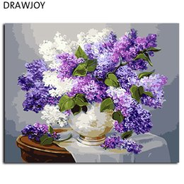 Wholesale Framed Floral Pictures - Wholesale-Flower No Frame Pictures Painting By Numbers Home Decor For Living Room DIY Digital Canvas Oil Painting Wall Art GX3052 40*50cm