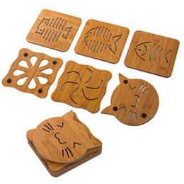 Wholesale Wholesale Bowls Bamboo - Wooden Placemat Hollow Cartoon Modeling Non-slip Pot Bowl Mats Kitchen Thickened Anti-hot anti-skid Insulation Pads WX9-342